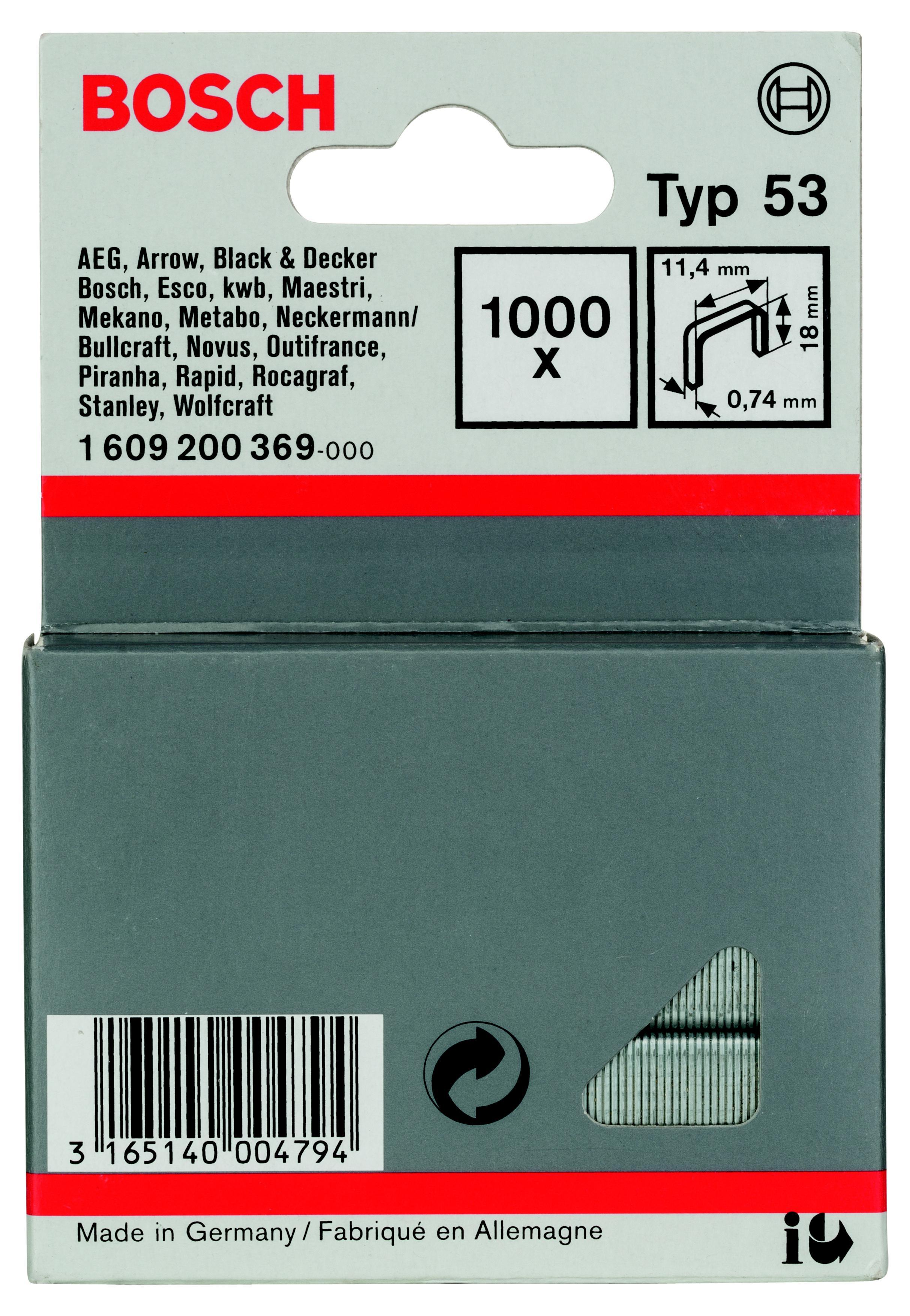 Скобы для степлера Bosch 1609200369 18 мм, тип 53, 1000 шт. скобы bosch для строительного степлера тип t53 6 мм 1000 шт