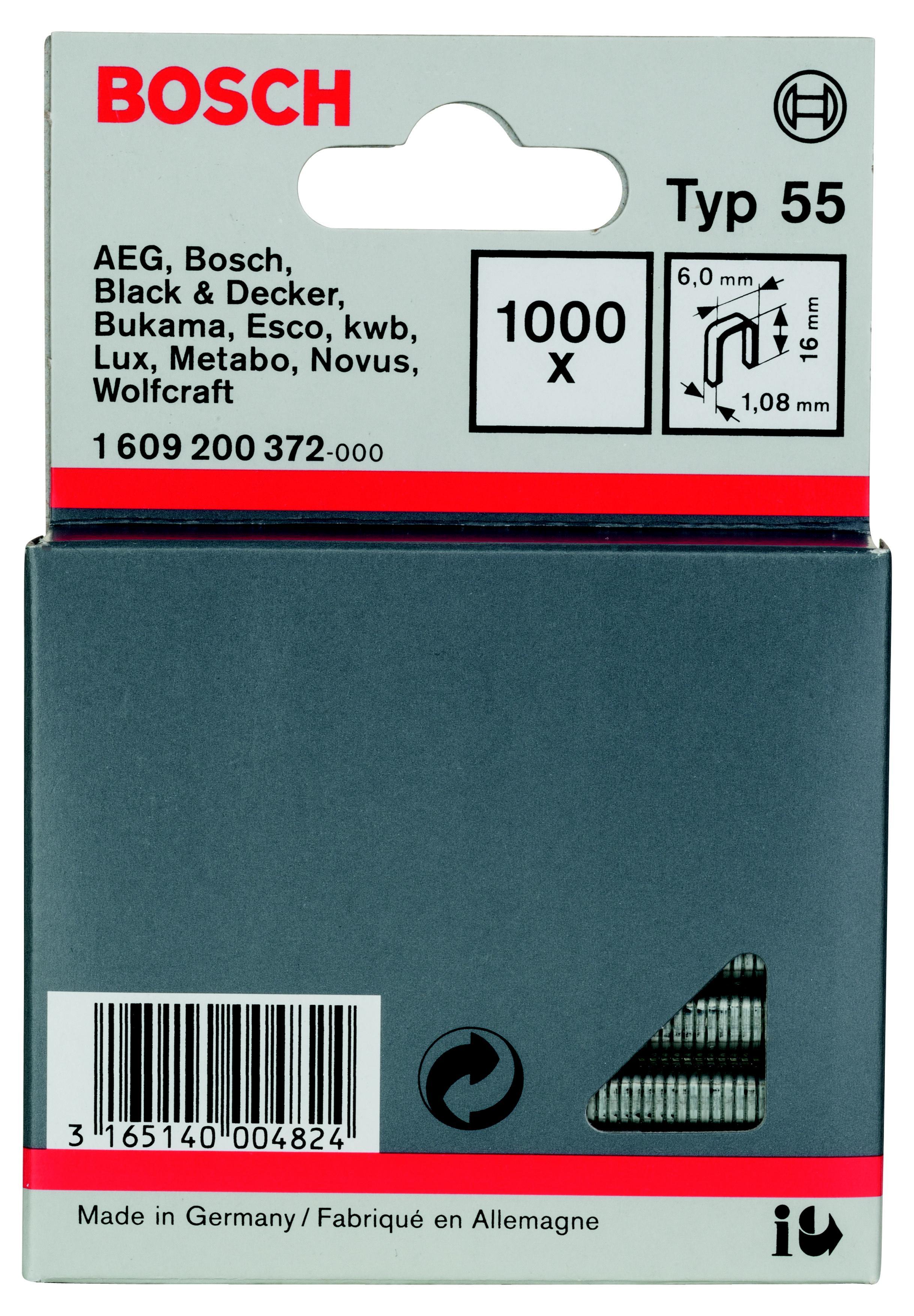 Скобы для степлера Bosch 1609200372 16 мм, тип 55, 1000 шт. скобы bosch для строительного степлера тип t53 6 мм 1000 шт