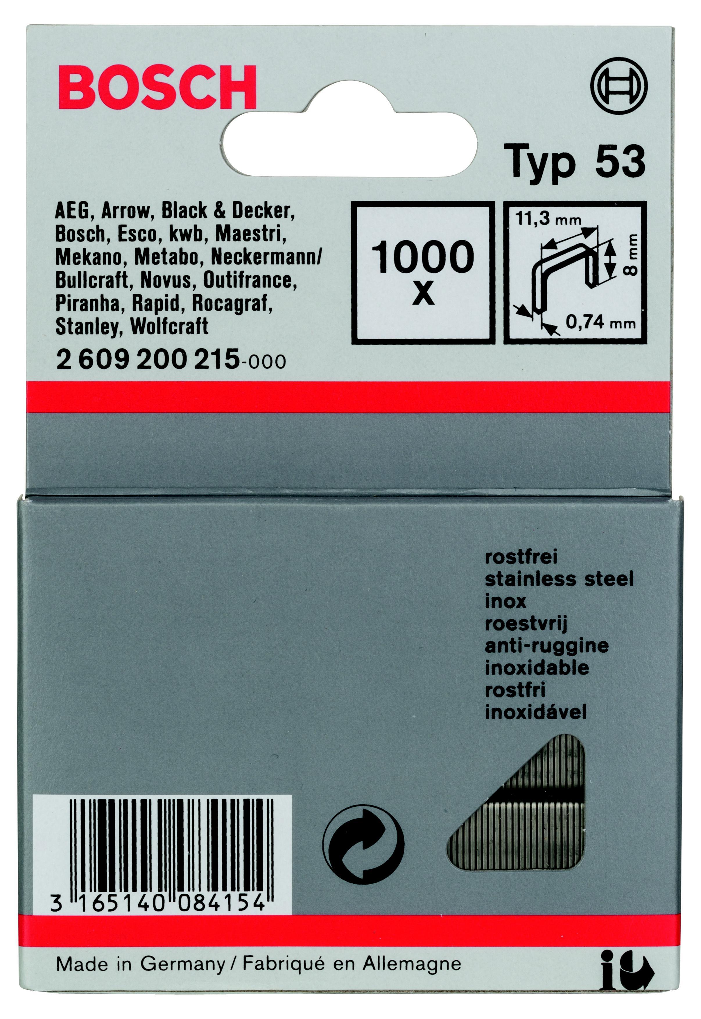 Скобы для степлера Bosch 2609200215 скрепки для степлера bosch 1000 14мм тип 53 1609200368