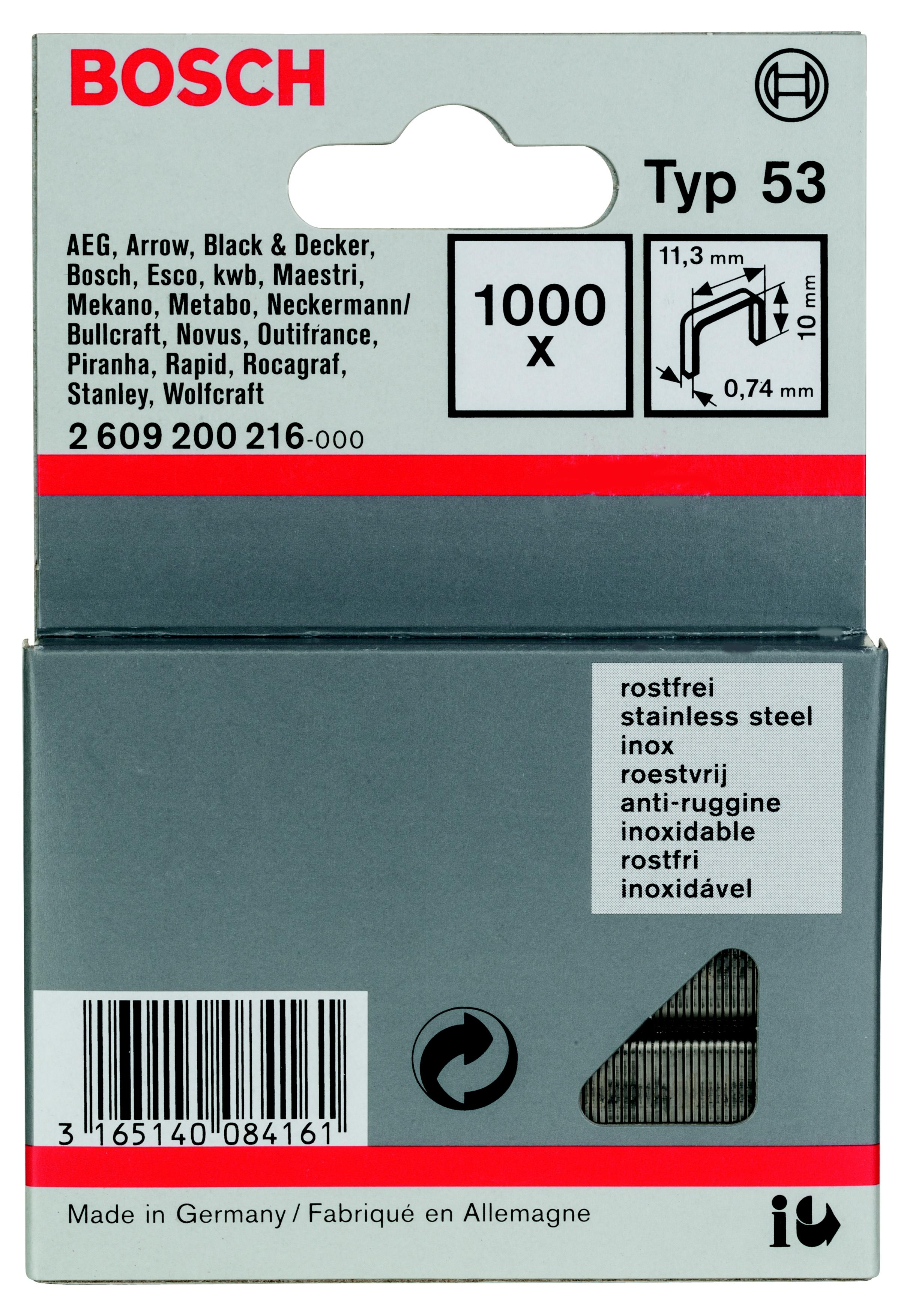 Скобы для степлера Bosch 2609200216 скрепки для степлера bosch 1000 14мм тип 53 1609200368