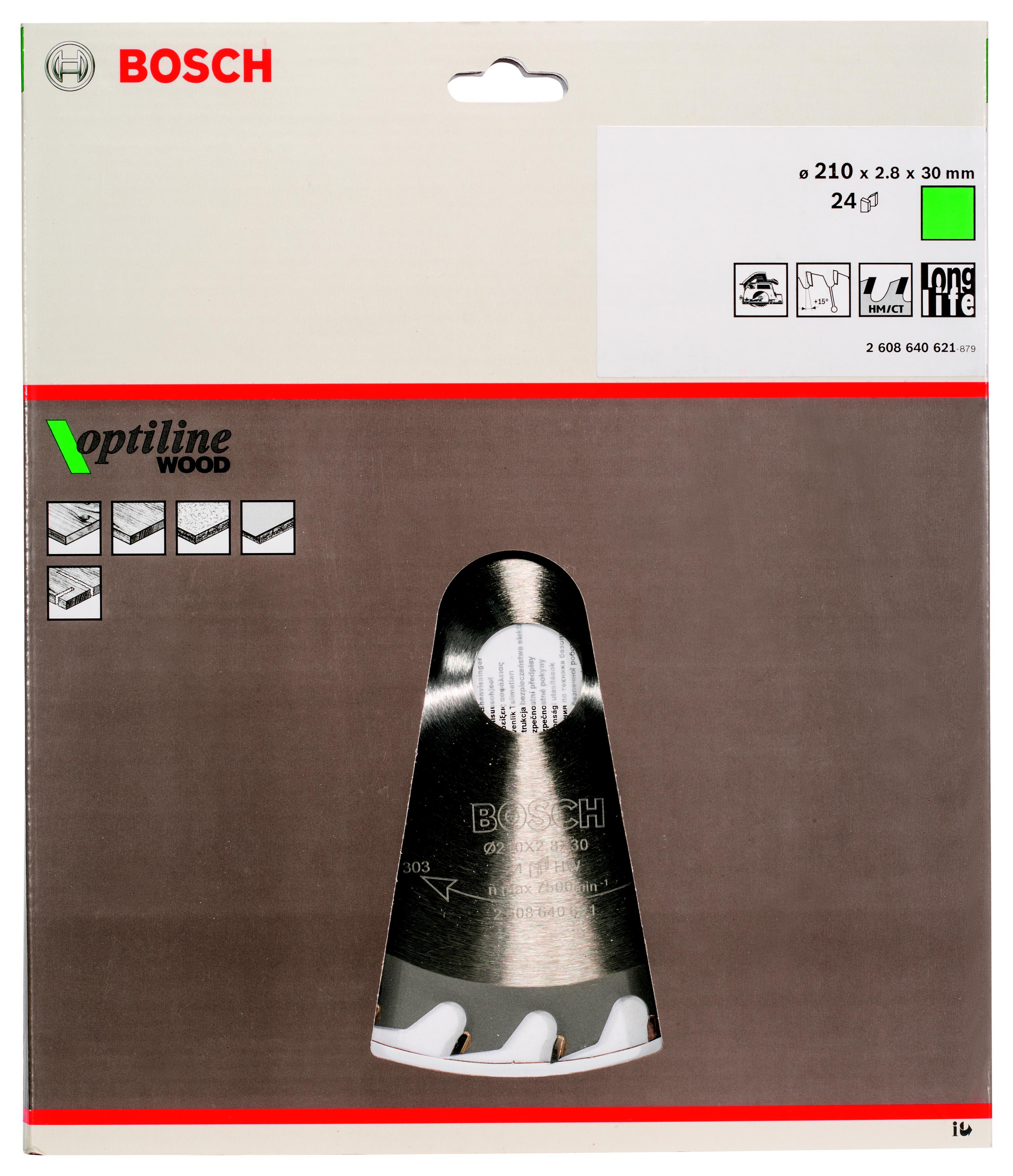 Диск пильный твердосплавный Bosch Ф210х30мм 24зуб. (2608640621)