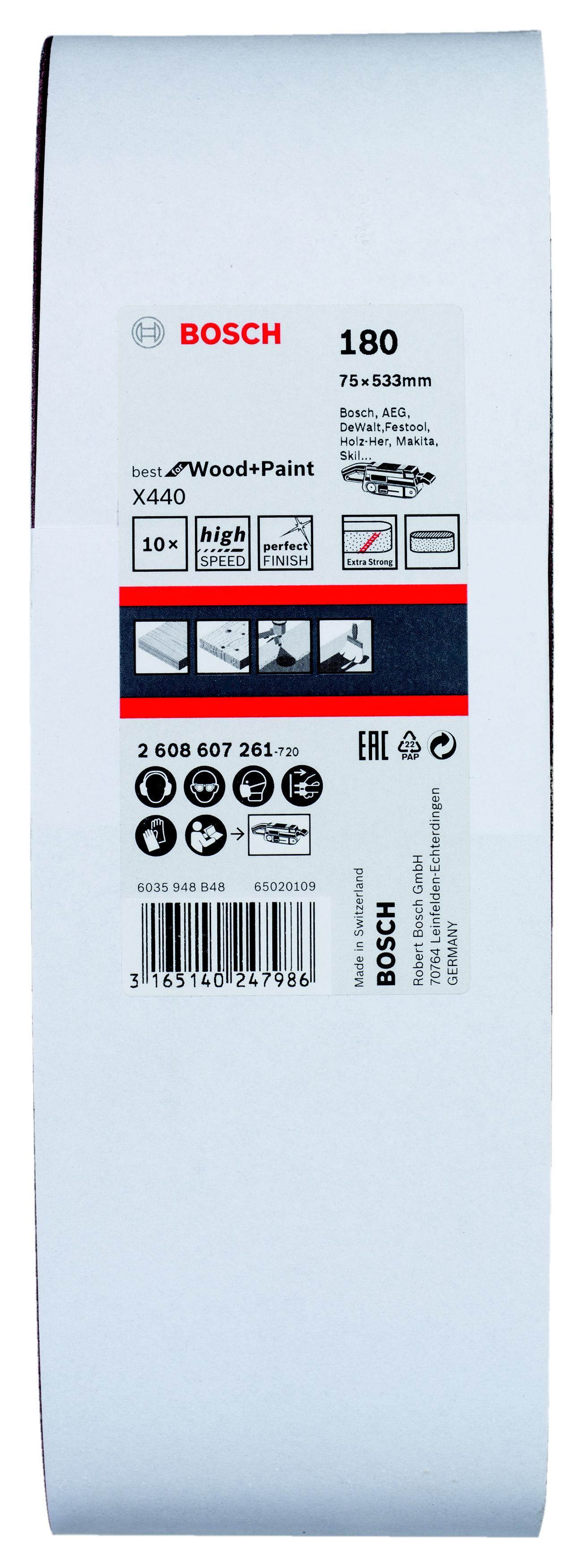 цена на Лента шлиф. бесконечная Bosch 75х533мм p180