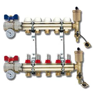 Коллектор TiemmeКоллекторы для труб<br>Материал фитинга: латунь,<br>Тип трубного соединения: резьба,<br>Присоединительный размер: 3/4<br>