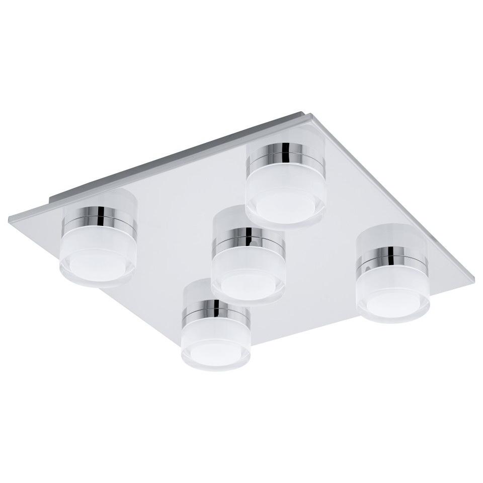 Светильник для ванной комнаты EgloСветильники для ванных комнат<br>Стиль светильника: модерн, Назначение светильника: для ванной комнаты, Материал светильника: пластик, сталь, Ширина: 320, Длина (мм): 320, Высота: 70, Мощность: 4.5, Количество ламп: 5, Тип лампы: светодиодная, Патрон: LED, Цвет арматуры: хром, Степень защиты от пыли и влаги: IP 44<br>