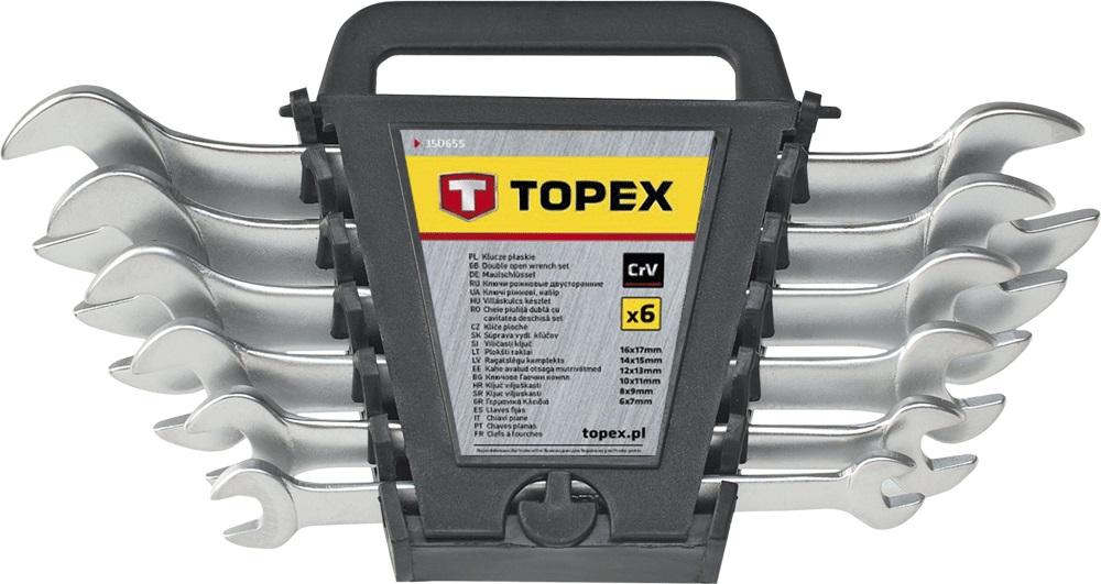 Набор гаечных ключей Topex 35d656 (6 - 22 мм) набор торцевых головок jonnesway 3 8dr 6 22 мм и комбинированных ключей 7 17 мм 36 предметов