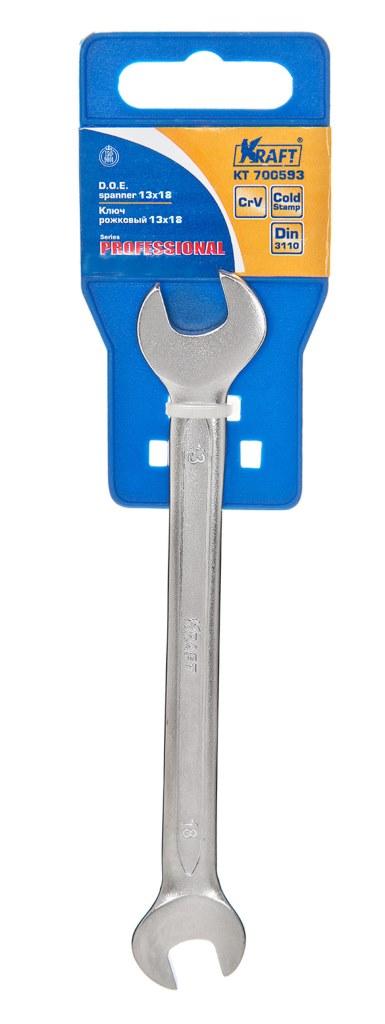 Ключ гаечный рожковый Kraft КТ 700593 (13 / 17 мм) ключ рожковый kraft кт 700528 13 14 мм хром ванадиевая сталь cr v