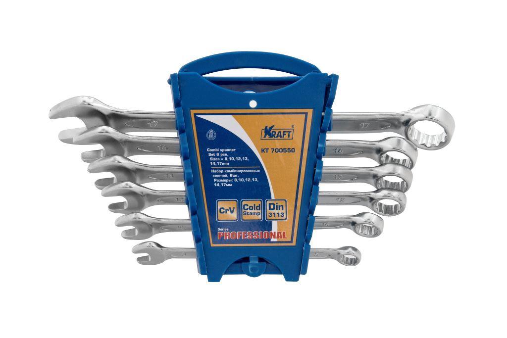Ключ гаечный комбинированный Kraft КТ 700550 (8 - 17 мм) домкрат kraft kt 850000 2т