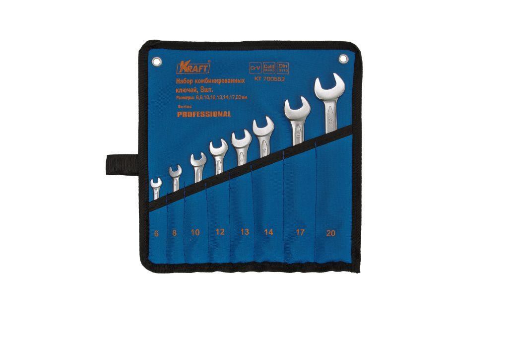 Ключ гаечный комбинированный Kraft КТ 700553 (6 - 20 мм) домкрат kraft kt 850000 2т