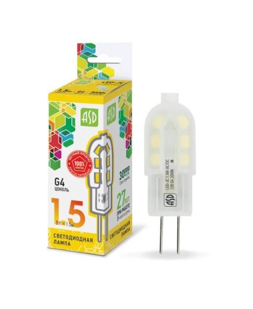 Лампа светодиодная Asd Led-jc-standard 1.5Вт 12В g4 4000К цоколь лампы led g4 10pcs lot g4 g4 lampcrystal 163