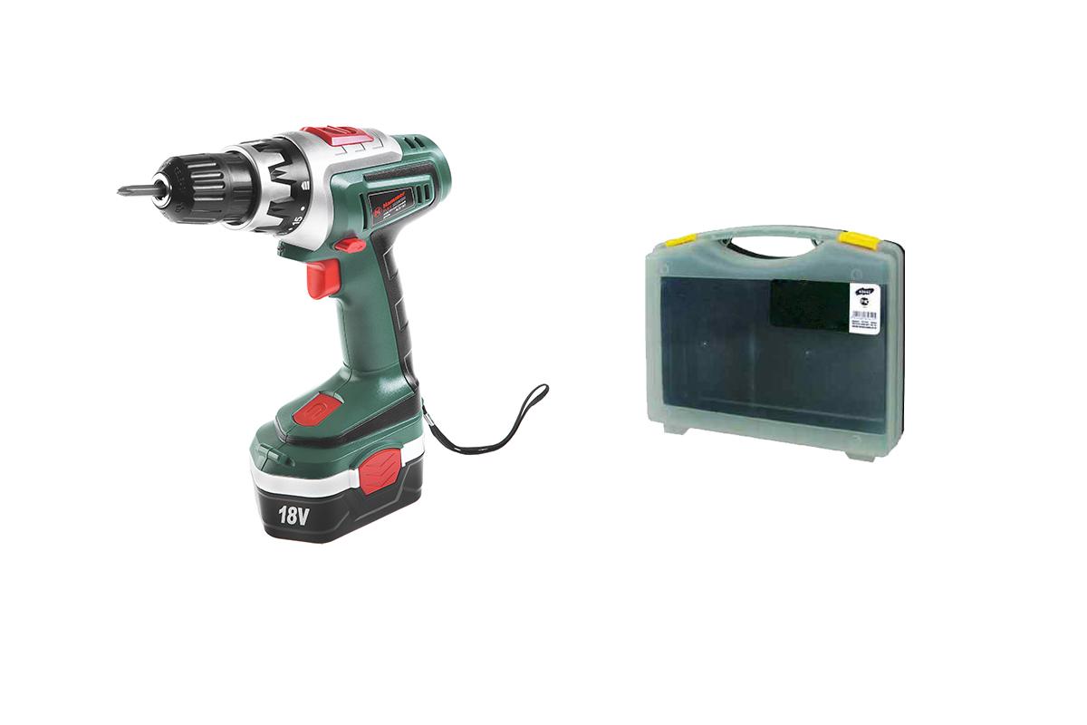 Дрель аккумуляторная Hammer Flex acd182 + Подарочная оснастка в кейсе дрель шуруповерт hammer flex acd182 flex gn 05 с двумя аккумуляторами [508099]