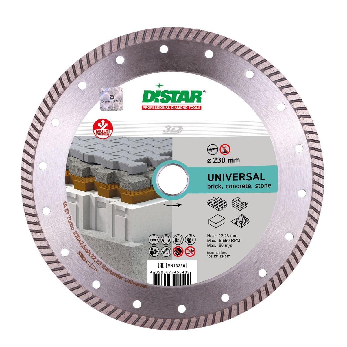 Круг алмазный Di-star 1a1r turbo 230x2,6x9x22,23 bestseller universal диск алмазный турбо 200x25 4 di star