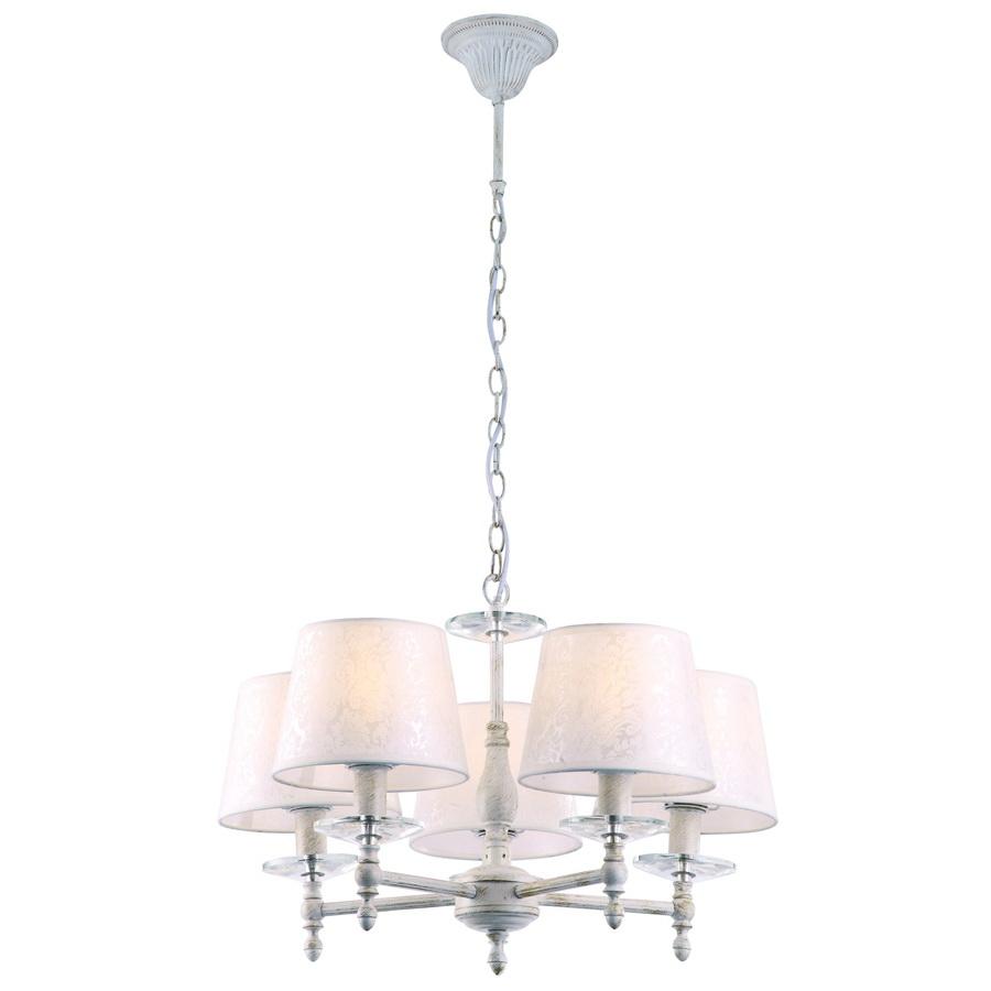 Люстра Arte lampЛюстры<br>Назначение светильника: для комнаты,<br>Стиль светильника: классика,<br>Тип: подвесная,<br>Материал светильника: металл, ткань,<br>Материал плафона: ткань,<br>Материал арматуры: металл,<br>Длина (мм): 560,<br>Ширина: 560,<br>Высота: 390,<br>Количество ламп: 5,<br>Тип лампы: накаливания,<br>Мощность: 40,<br>Патрон: Е14,<br>Цвет арматуры: белый<br>
