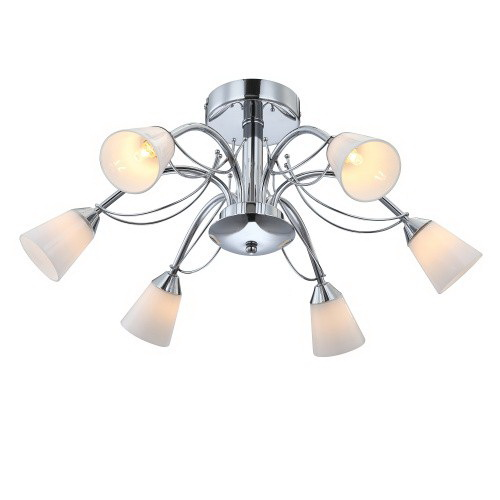 Люстра GloboЛюстры<br>Назначение светильника: для комнаты,<br>Стиль светильника: модерн,<br>Тип: потолочная,<br>Материал светильника: металл, стекло,<br>Материал плафона: стекло,<br>Материал арматуры: металл,<br>Длина (мм): 250,<br>Ширина: 580,<br>Высота: 580,<br>Количество ламп: 6,<br>Тип лампы: галогенная,<br>Мощность: 33,<br>Патрон: G9,<br>Цвет арматуры: серебро<br>