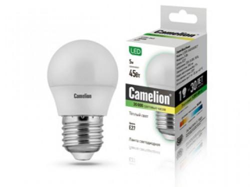 Лампа светодиодная Camelion Led5-g45/830/e27 лампа светодиодная camelion led5 cw35 830 e14