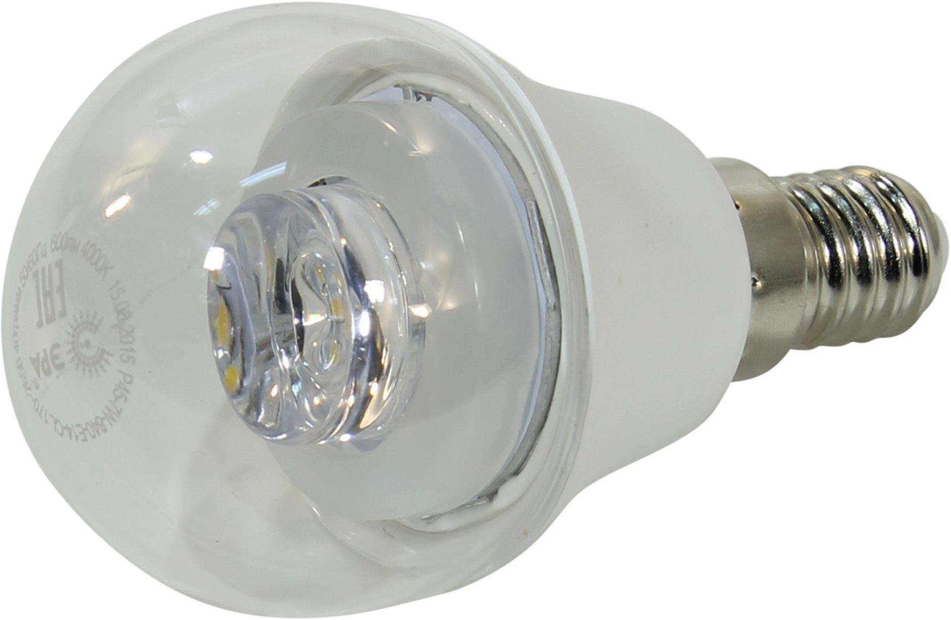 Лампа светодиодная ЭРА P45-7w-840-e14-clear лампа светодиодная эра p45 7w 827 e27 clear
