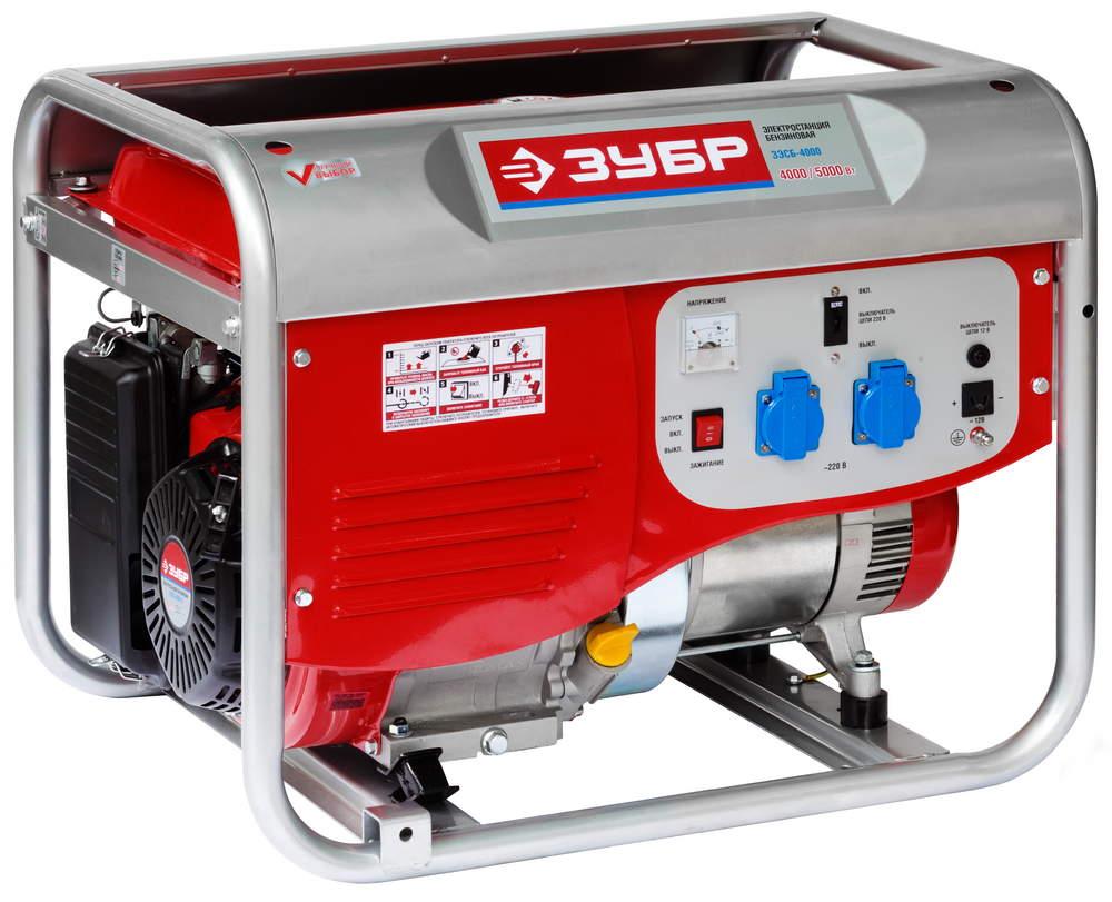 Бензиновый генератор ЗУБР ЗЭСБ-4000 генератор бензиновый зубр зэсб 3500