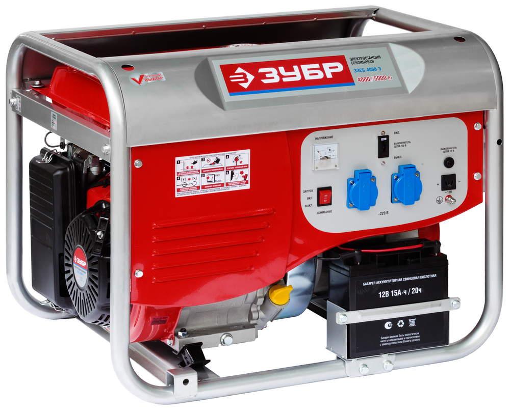 Бензиновый генератор ЗУБР ЗЭСБ-4000-Э генератор бензиновый зубр зэсб 1200