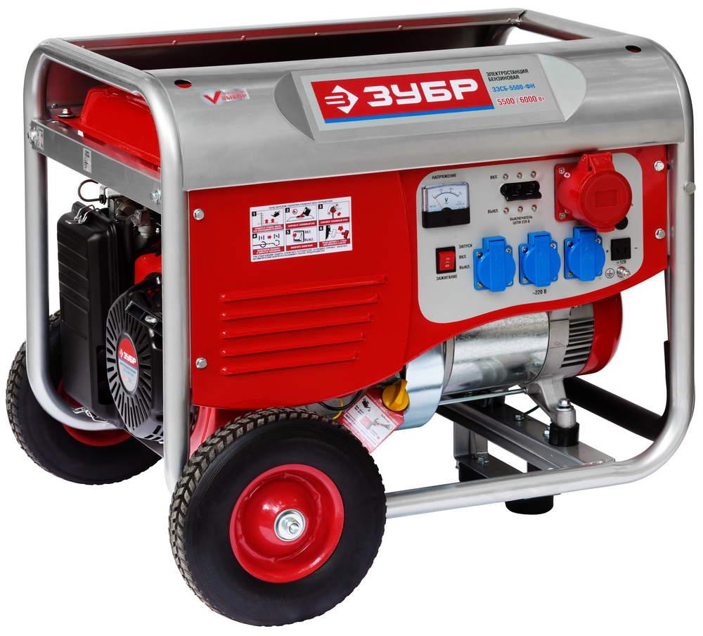 Бензиновый генератор ЗУБР ЗЭСБ-5500-ФН генератор бензиновый ручной и эл пуск 2800 2500вт зубр зэсб 2800 э