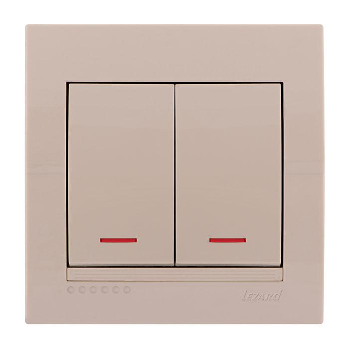 Выключатель Lezard 702-0303-112 выключатель двухклавишный наружный бежевый 10а quteo