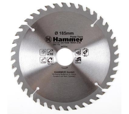 Диск пильный твердосплавный HAMMER Ф185х30мм 40зуб.