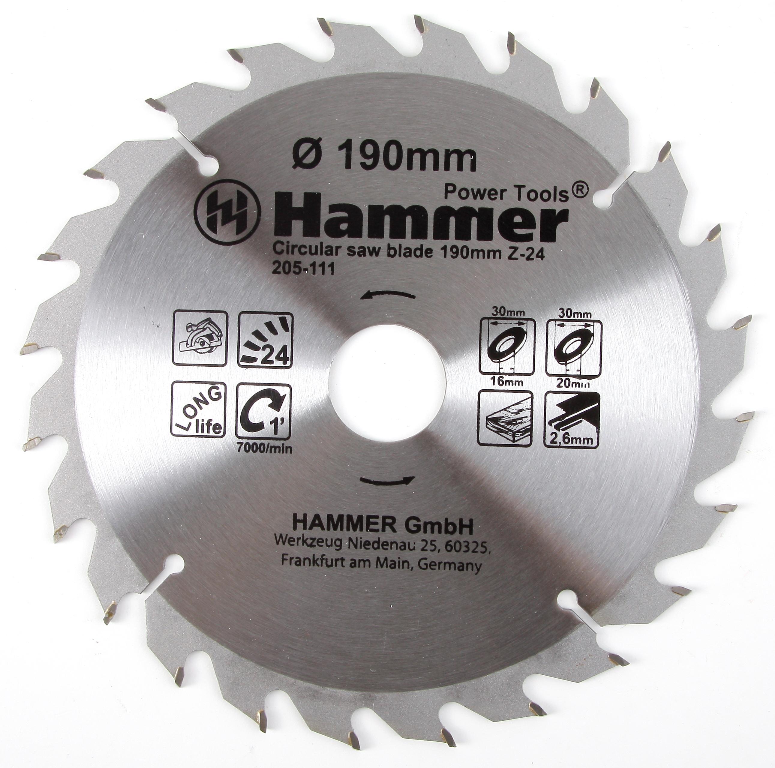 Диск пильный твердосплавный Hammer 190х30/16мм 24 зуб. диск пильный твердосплавный hammer 335х32 30мм 64 зуб
