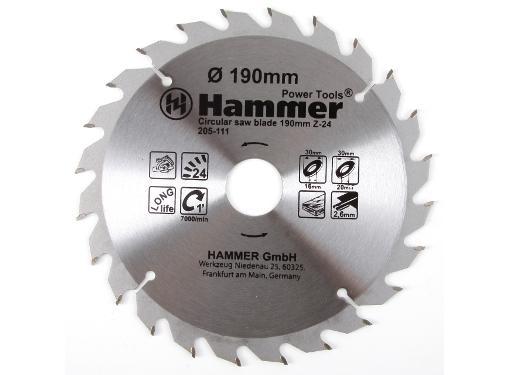 Диск пильный твердосплавный HAMMER Ф190х30мм 24зуб.