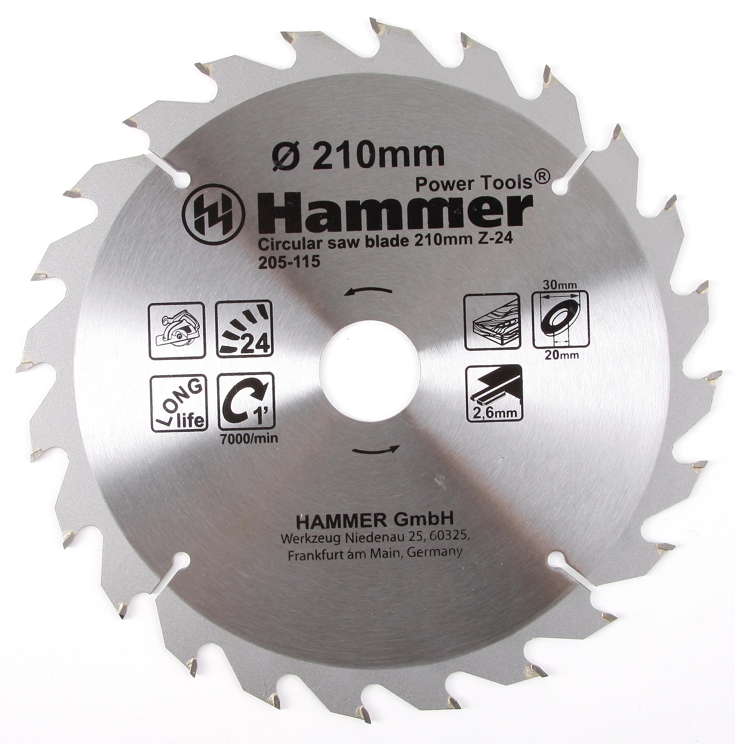 Диск пильный твердосплавный Hammer 210х30/20мм 24 зуб. диск пильный твердосплавный hammer 335х32 30мм 64 зуб
