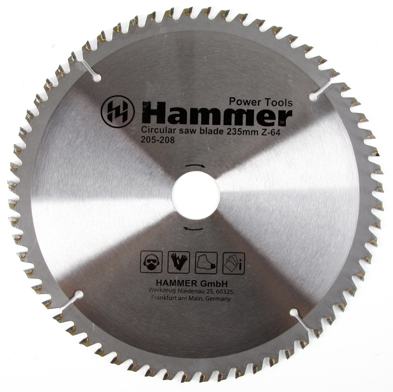 Диск пильный твердосплавный Hammer 235х30мм 64 зуб. диск пильный твердосплавный hammer 335х32 30мм 64 зуб