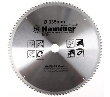 Диск пильный твердосплавный HAMMER Ф335х30мм 100зуб.