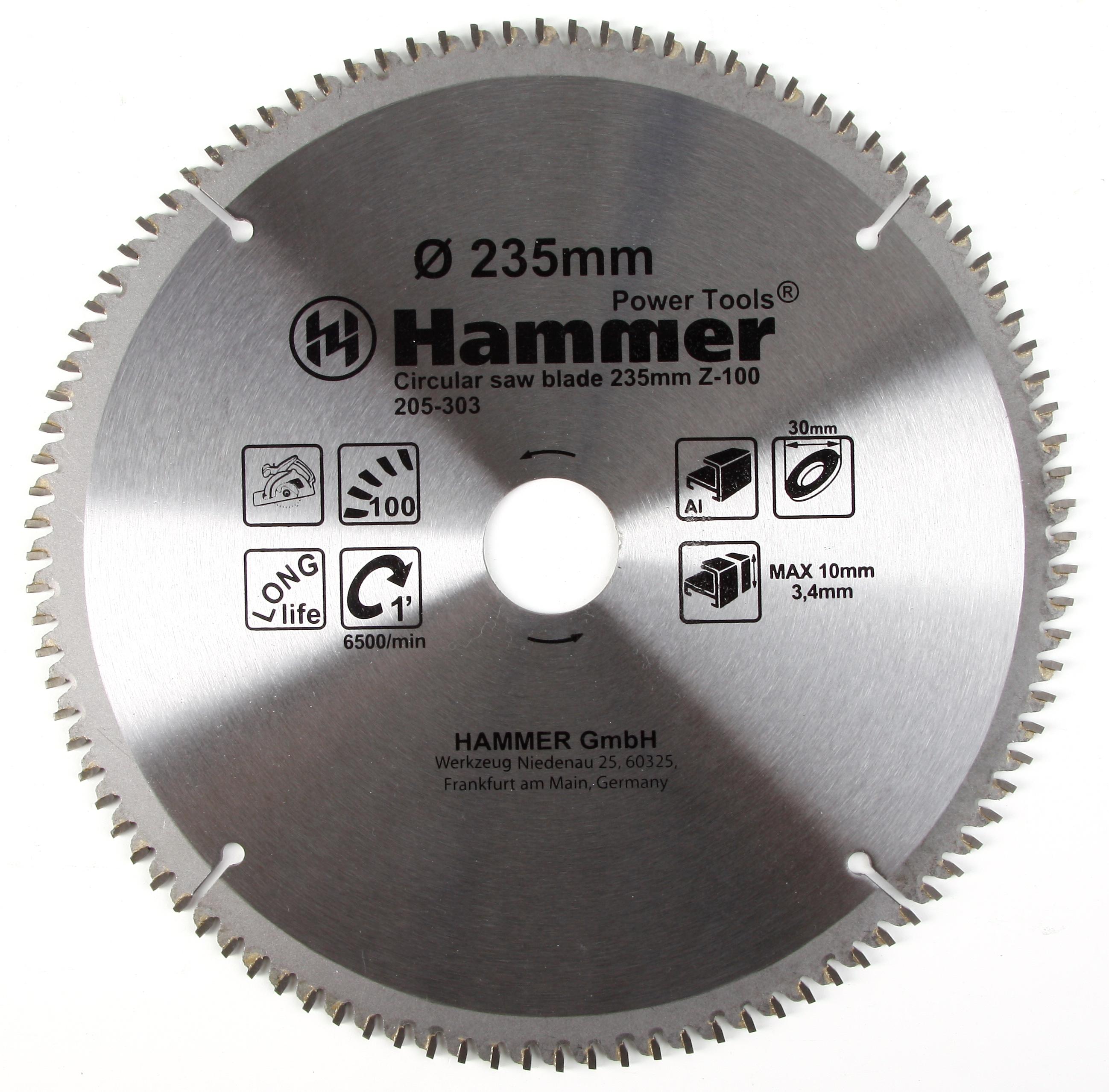 Диск пильный твердосплавный Hammer 235х30мм 100 зуб. диск пильный твердосплавный hammer 335х32 30мм 64 зуб