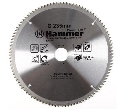 Диск пильный твердосплавный HAMMER Ф235х30мм 100зуб.