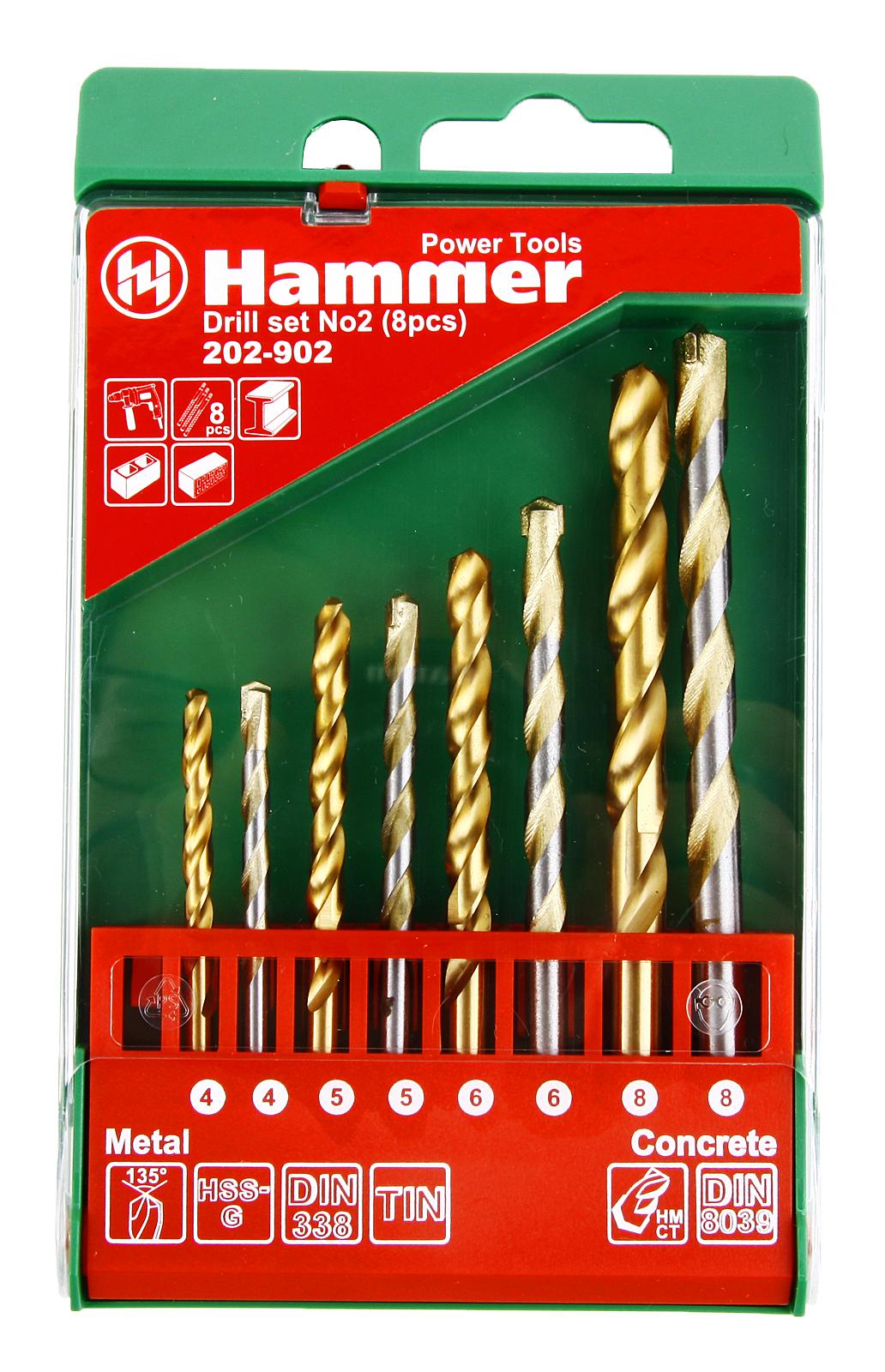 Набор сверл Hammer No2 (8шт.) 4-8мм no2 sensors no2 a1 100