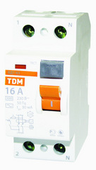 УЗО ТДМАвтоматические выключатели<br>Номинальный ток: 63, Тип выключателя: УЗО, Количество полюсов: 2, Номинальный отключающий дифференциальный ток: 30, Степень защиты от пыли и влаги: IP 20, Количество модулей: 2<br>
