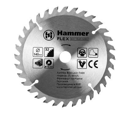 Диск пильный твердосплавный HAMMER Ф140х30/16мм 32зуб.