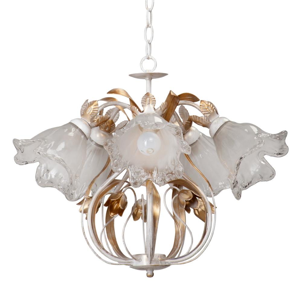 Люстра VitaluceЛюстры<br>Назначение светильника: для комнаты,<br>Стиль светильника: флористика,<br>Тип: подвесная,<br>Материал светильника: металл, стекло,<br>Материал плафона: стекло,<br>Материал арматуры: металл,<br>Диаметр: 550,<br>Высота: 650,<br>Количество ламп: 5,<br>Тип лампы: накаливания,<br>Мощность: 60,<br>Патрон: Е14,<br>Цвет арматуры: белый<br>