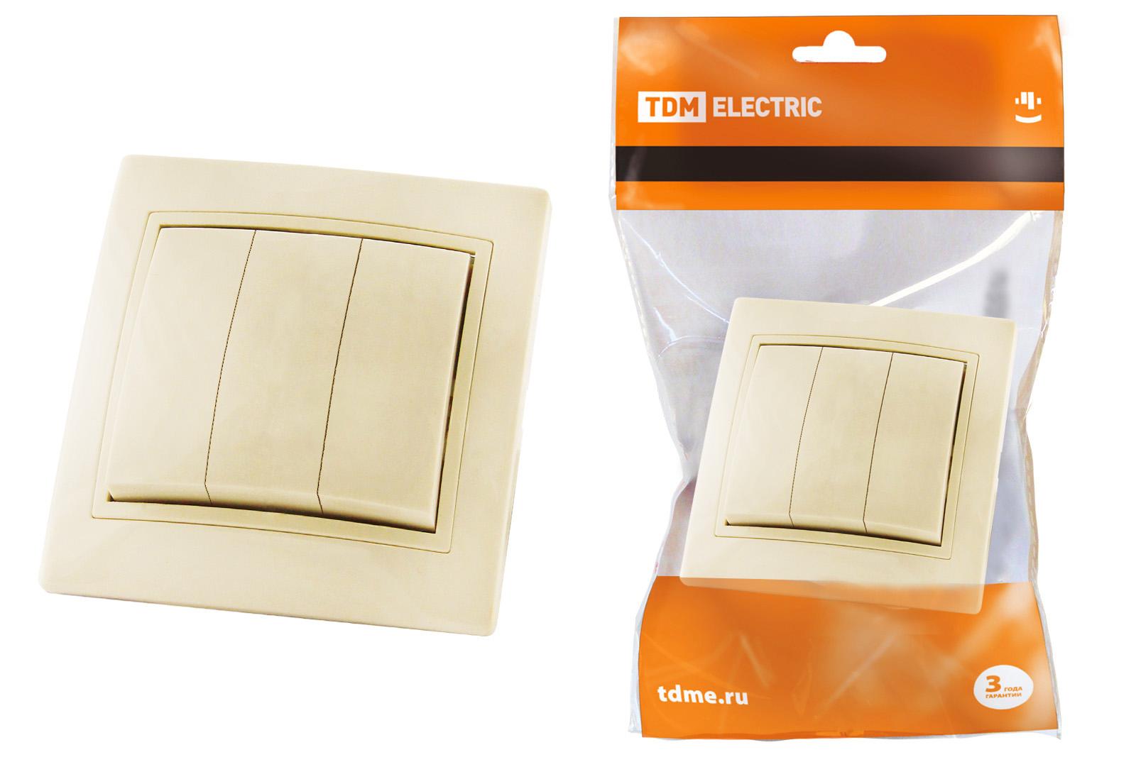 Выключатель Tdm Sq1814-0103 выключатель двухклавишный наружный бежевый 10а quteo