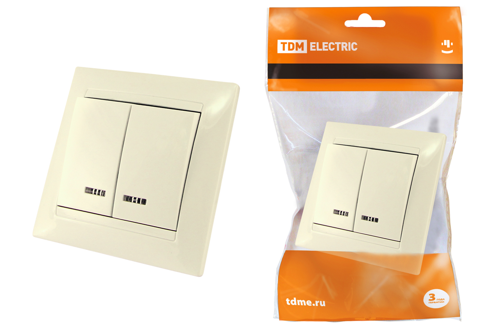 Выключатель Tdm Sq1815-0105 выключатель двухклавишный наружный бежевый 10а quteo