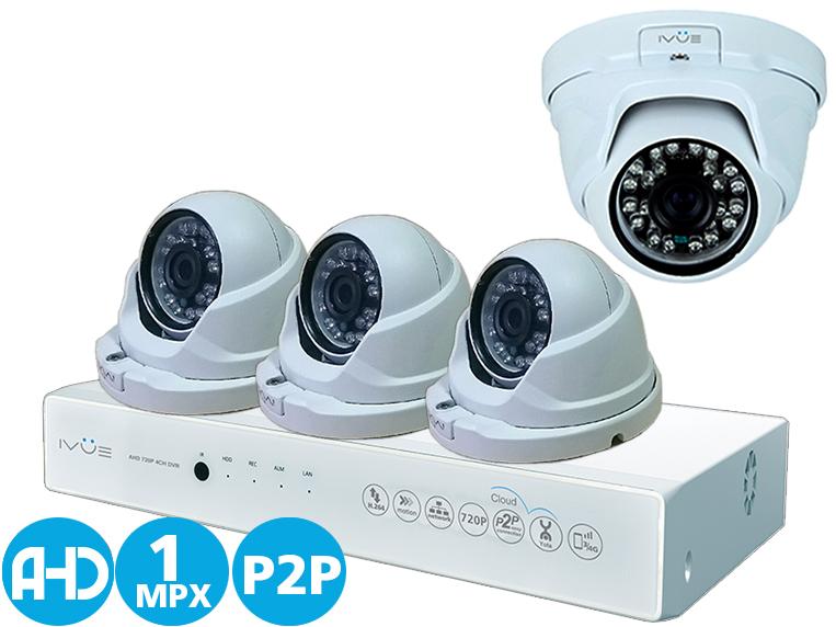 Комплект видеонаблюдения Ivue D5004 ahc-d4 видеонаблюдение ivue ahd 1 mpx дома и офиса 4 4 ivue d5004 ahc d4