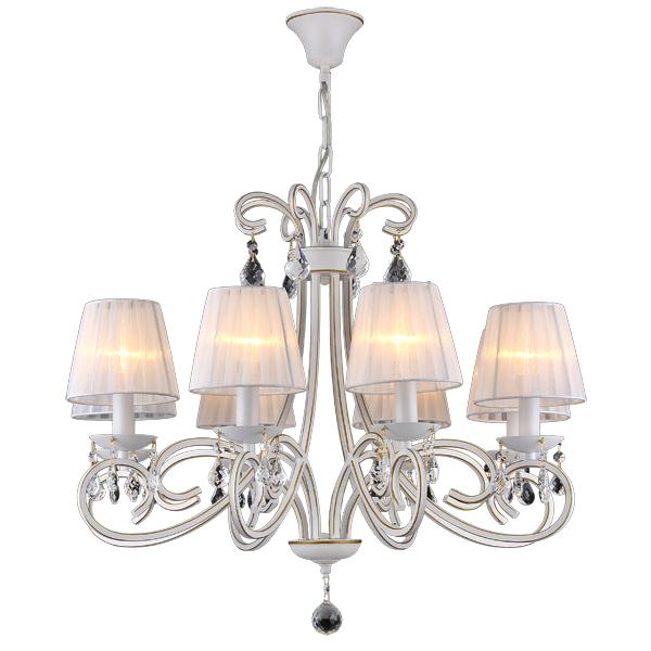 Люстра Natali kovaltsevaЛюстры<br>Назначение светильника: для гостиной,<br>Стиль светильника: классика,<br>Тип: подвесная,<br>Материал светильника: металл, ткань, хрусталь,<br>Материал плафона: ткань,<br>Материал арматуры: металл,<br>Диаметр: 790,<br>Высота: 500,<br>Количество ламп: 8,<br>Тип лампы: накаливания,<br>Мощность: 40,<br>Патрон: Е14,<br>Цвет арматуры: белый,<br>Коллекция: серия 155<br>