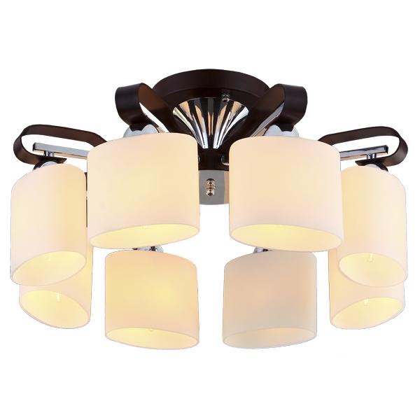 Люстра Natali kovaltsevaЛюстры<br>Назначение светильника: для гостиной, Стиль светильника: модерн, Тип: потолочная, Материал светильника: металл, стекло, дерево, Материал плафона: стекло, Материал арматуры: металл, Диаметр: 580, Высота: 260, Количество ламп: 8, Тип лампы: накаливания, Мощность: 60, Патрон: Е14, Цвет арматуры: хром, Родина бренда: Германия, Коллекция: серия 248<br>