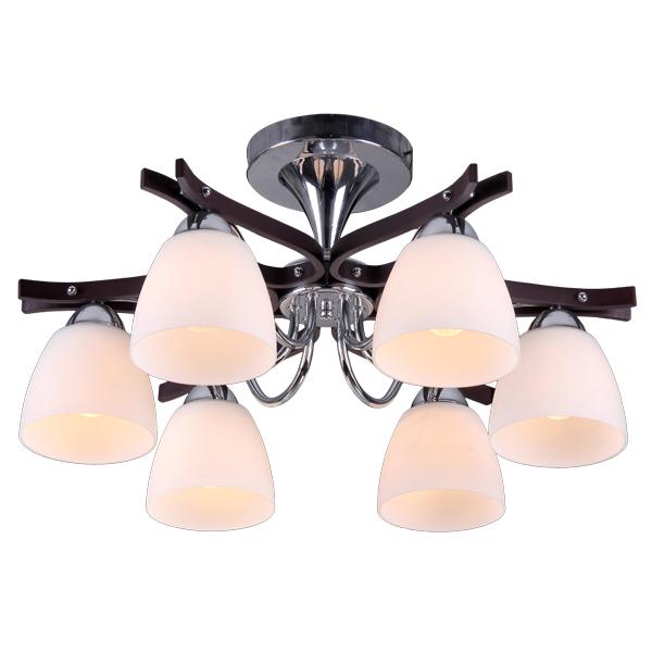 Люстра Natali kovaltsevaЛюстры<br>Назначение светильника: для гостиной, Стиль светильника: модерн, Тип: потолочная, Материал светильника: металл, стекло, Материал плафона: стекло, Материал арматуры: металл, Диаметр: 580, Высота: 280, Количество ламп: 6, Тип лампы: накаливания, Мощность: 60, Патрон: Е27, Цвет арматуры: хром, Родина бренда: Германия, Коллекция: серия 277<br>
