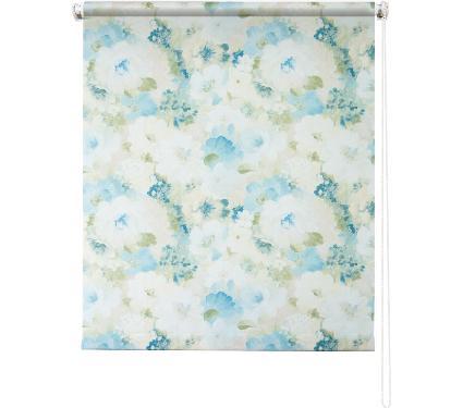 Рулонная штора УЮТ 90х175 Пионы голубой