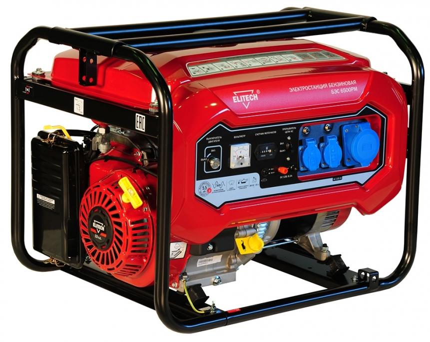 Бензиновый генератор Elitech 181320 БЭС 6500РМ генератор бензиновый elitech бэс 6500 e