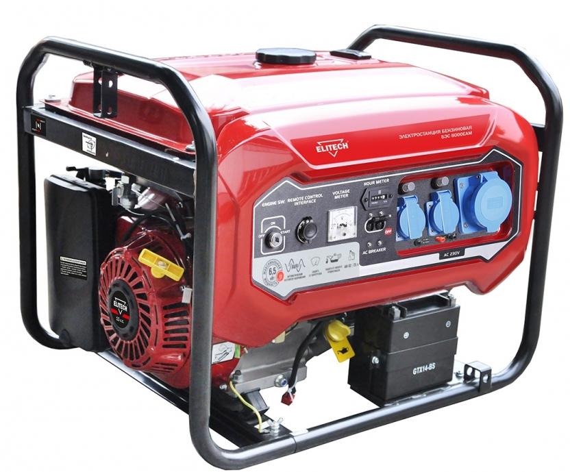 Бензиновый генератор Elitech БЭС 8000ЕАМ генератор elitech дэс 12000 еm