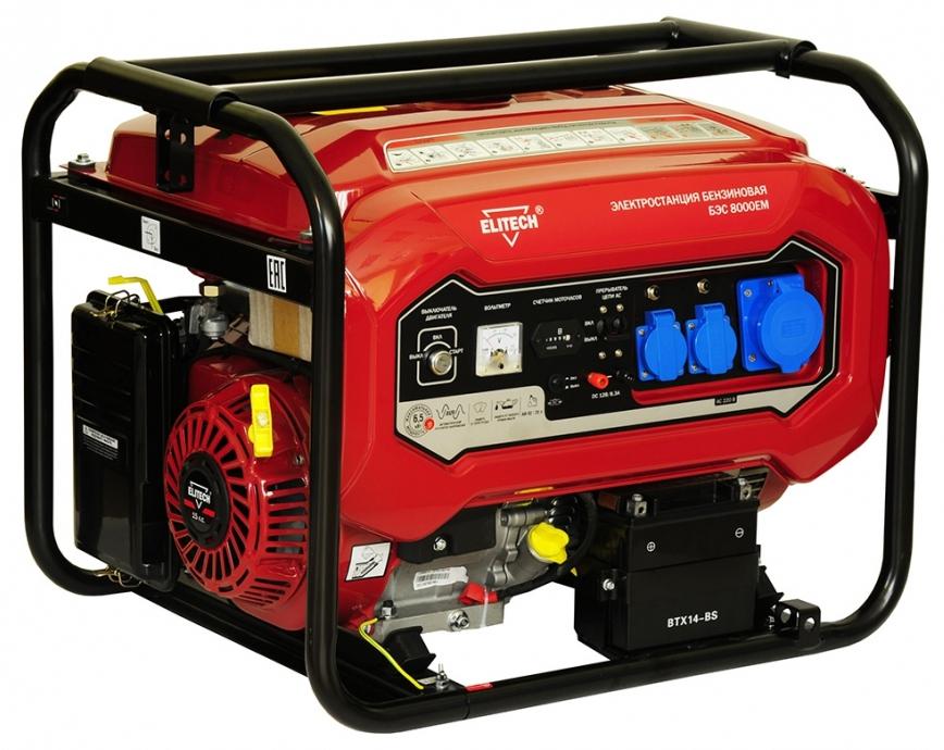 Бензиновый генератор Elitech БЭС 8000ЕМ бензиновый генератор elitech бэс 950 р