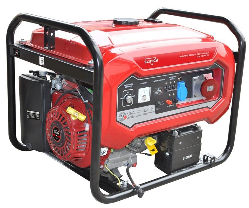 Бензиновый генератор Elitech БЭС 8000ЕТМ генератор elitech дэс 12000 еm