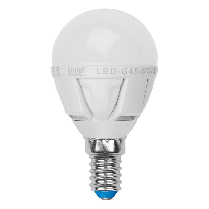 Лампа светодиодная Uniel Led-g45-6w/ww/e14/fr alp01wh 10шт uniel лампа светодиодная 08137 e14 6w 3000k свеча на ветру матовая led cw37 6w ww e14 fr alm01wh