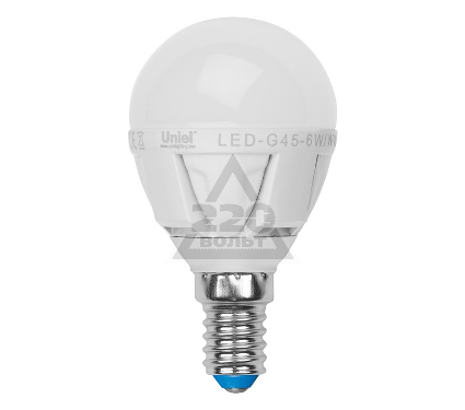 Лампа светодиодная UNIEL LED-G45-6W/WW/E14/FR ALP01WH 10шт