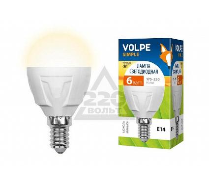Лампа светодиодная VOLPE LED-G45-6W/WW/E14/FR/S 10шт