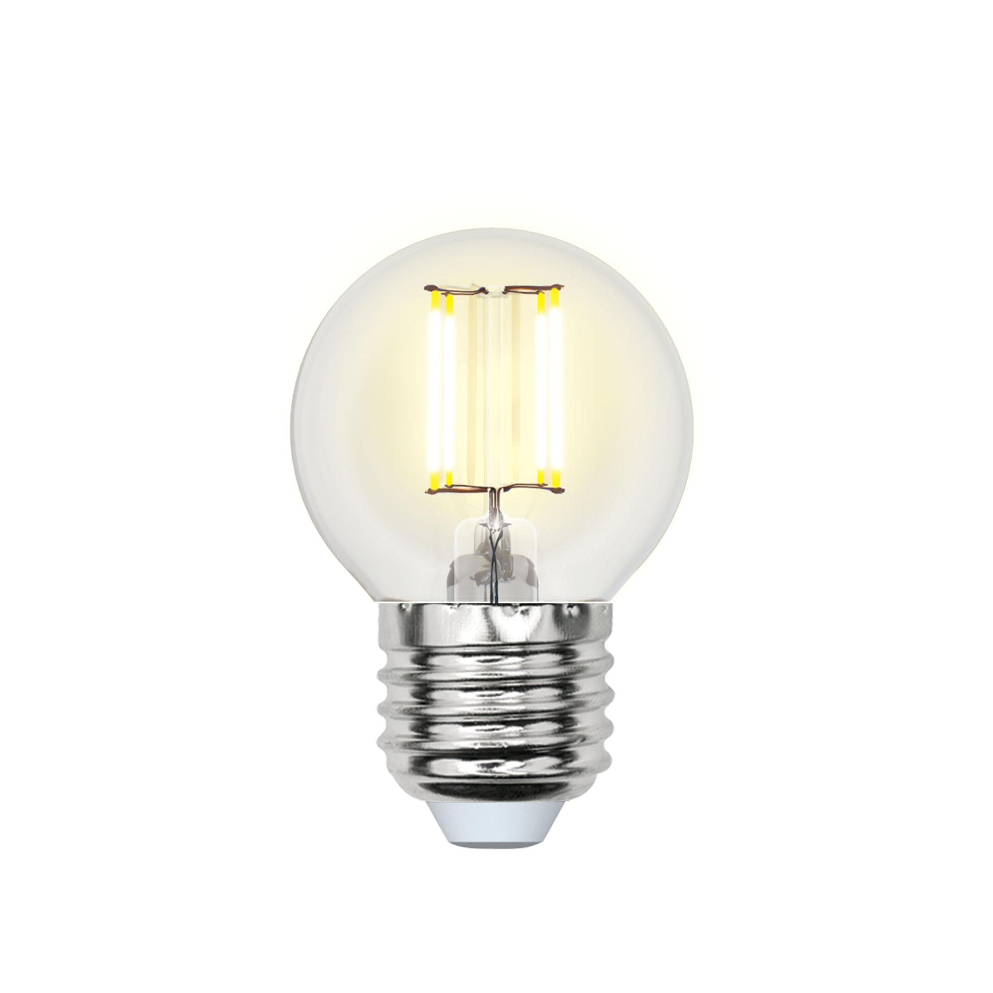 Лампа светодиодная Uniel Led-g45-6w/ww/e27/cl pls02wh 10шт
